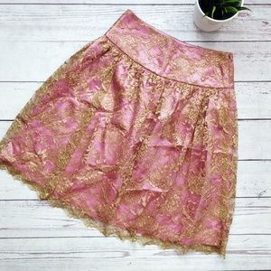 TRINA TURK Pink and Gold Lace Satin Skirt 4